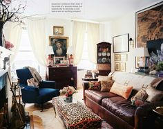 The preppy, classic, elegant Upper East Side living room of my homegirl Jessika Goranson as featured in this month's Lonny! She owns my favorite boutique here in Beacon Hill, Holiday, like 50 feet from my front door. Everyone go there! Now! Aged leather, Hermes, Schumacher Chinoiserie, blue and white ginger jars, gorgeous antiques, and a healthy dose of leopard is a recipe for success if I've ever heard one! Congrats Jessika!