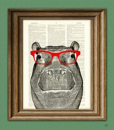 $6.99 sin frame Hippopotamus Smarty Pants Hippo with red glasses illustration beautifully upcycled dictionary page book art print