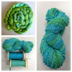 Hand spun yarn I created with two different singles. I dyed each roving, one is a multi of turquoise and chartreuse and the other is solid turquoise.