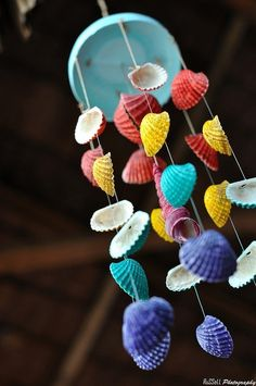 Kid made Seashell wind chime- I absolutely love this!