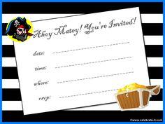 Free printable pirate party invitation