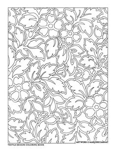 Creative Haven Textile Designs Coloring Book By Marjorie Sarnat Outline Floral