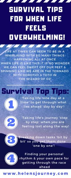 Survival Tips for when life feels overwhelming! Survival Tips for when life feels overwhelming! Overwhelmed By Life, Feeling Overwhelmed, Thing 1, Coping With Stress, Survival Prepping, Survival Food, Stress Management, Getting Things Done, Helping Others