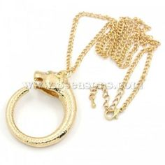 """Buy wholesale charm pendant necklaces animal head gold plated cyan rhinestone w/ extender chain & lobster 56cm(22"""") long, 2pcs at low price , jewelry & gifts on sale for wholesale prices at 8seasons.com"""