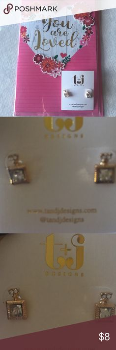 🆕 Perfume bottle earrings HP 2/7/18 A pair of goldstone and square earrings with a chipped diamond setting & larger center stone. Textured frame surrounds center stone. Perfect for office or minimalist days! Perfume Bottle is so chic! T&J Designs Jewelry Earrings