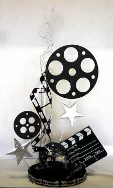 Hollywood centerpiece (clapboard & film reel).