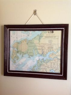 Authentic Framed Chesapeake Bay Maryland Navigational Chart