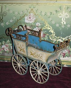 SUPERB Antique Blue Marklin German Toy Doll Carriage~ON SALE!