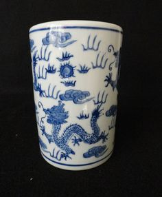 Vintage Chinese Blue White Vase with by ArtsCollectiblesbyKT, $25.00