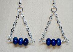 Wire Wrapped Swinging Blue Kiwi Lapis Earrings by tjscrownjewels, $10.00