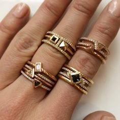 @NAKARMSTRONG takes ring stacks to a whole new level #stackingrings #swoon #diamond #gold