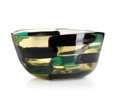 "** Fulvio Bianconi, ""Pezzato"", skål, Venini Wine Glass, Glass Art, Vases, Landscape Materials, Carlo Scarpa, Pots, Art Academy, Venetian Glass, Carafe"