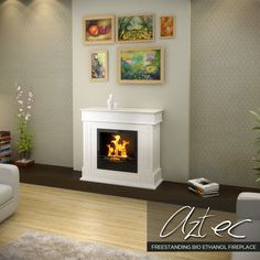 White Bio Ethanol Free Standing Burner Box Heater Methylated Spirits Fireplace