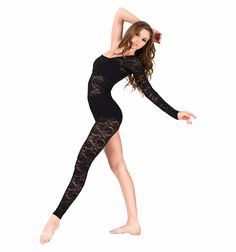 Lace Asymmetrical Long Sleeve Unitard - Unitards | DiscountDance.com