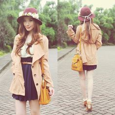 Japan Trench Coat, Gowigasa Vintage Dress, Pull And Bear Burgundy Hat