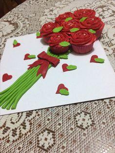 Ramo de rosas de cup cakes