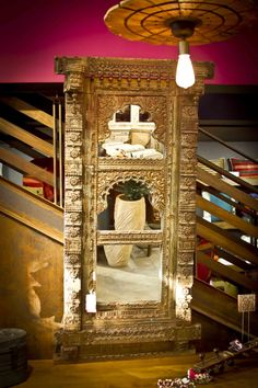 Antique Jarokha mirror frame, intricately carved with original aged patina