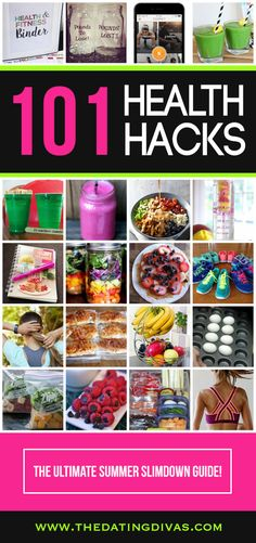 The ULTIMATE Summer Slimdown Guide!  From healthy snacks, salads, and smoothies to workout calendars and weight loss tricks- this post includes it ALL!  Must-pin!!! From www.TheDatingDivas.com