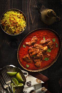 Lucknow Ghosht Korma (goat meat/mutton, onions, yogurt, coriander powder, Kashmiri red chili powder, Kewda essence, saffron, warm milk, ginger-garlic paste, mace powder, oil, ghee, cinnamon stick, green cardamom, cloves, black pepper, poppy seeds, cashew nuts, black cardamom)