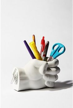 hand pen holder - The Hand Pen Holder is another everyday item with a creative twist by mega-retailer Urban Outfitters. This heavyweight pen holder doubles as a pape. Unique Desks, Pot A Crayon, 3d Prints, Office Accessories, Pen Holders, Gift Guide, Cool Stuff, Stuff To Buy, Random Stuff