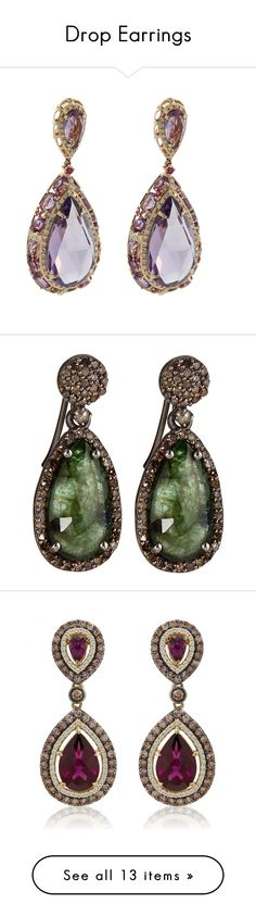 """""""Drop Earrings"""" by tina-abbara on Polyvore featuring jewelry, earrings, diamond jewelry, rose gold jewelry, 14k earrings, 14 karat gold earrings, rose gold drop earrings, accessories, emerald earrings and circle jewelry"""