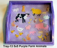 wooden tray with a farming theme sealed in resin. Great for kids! Wood Tray, Serving Trays, Farm Animals, Farming, Handcrafted Jewelry, Children, Kids, Turtle, Magnets