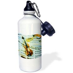 3dRose Violin Impressions, Sports Water Bottle, 21oz