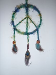 peace dream catcher/feathers/peacock/earthy/boho/hippie