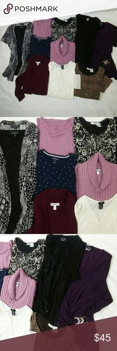 1x Bundle lot of 10 tops 10 piece bundle lot of tops. 6 tops are short sleeved White lace top is 3/4 sleeve Navy blue polka dot is long sleeved Violet knitted sweater is long sleeved Burgundy knit cardigan is 3/4 sleeve and  is size 14/16 which fits 1x The brands are Croft&Barrow, Dress Barn, Shanon Ford, East 5th, Elementz woman, White Stage and ACW. Selling as a bundle for a very good price. All pieces in good clean condition. croft & barrow Tops