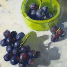 """Daily Paintworks - """"Grape clusters  6 x 6  Oil"""" - Original Fine Art for Sale - © Claudia Hammer"""