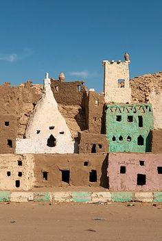 Mud-brick model of the old town of Bawiti, Bawiti, Bahariya Oasis, Giseh, Egypt
