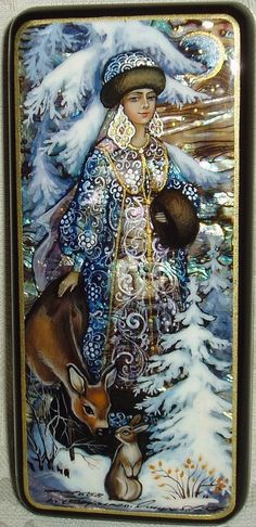 """( - p.mc.n.) """"Snow Maiden with Fawn"""", Russian Lacquer Box, Mother of Pearl, Hand Painted"""