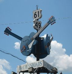 """""""The Crossroads"""", where Robert Johnson supposedly sold his soul to the Devil in exchange for mastery of the blues, according to the legend. It is the intersection of U.S. Routes 61 and 49, at Clarksdale, Mississippi..."""