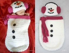 Crochet Snowman Ear Muff Hat and Cocoon.
