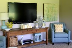 """TV placement idea - love that it's like an additional item and not the """"focal point"""""""