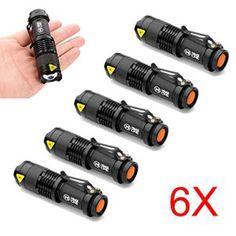 MakeTheOne Cree Q5 Lot de 6 mini lampes torche Led 7W 1200lm 3modes