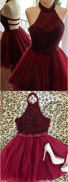 burgundy homecoming dresses, halter homecoming dresses,backless homecoming dresses