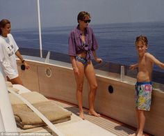 Effortless cool: Princess Diana has appeared in a rare candid photo, posted to Instagram for throwback Thursday, which was taken aboard fashion designer Valentino's yacht in 1990 (pictured)