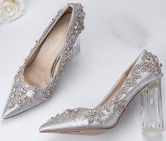 Rhinestone Wedding Shoes, Silver Wedding Shoes, Wedding Shoes Bride, Silver Pumps, Bridal Shoes, Wedding Toes, Wedding Pumps, Cinderella Wedding Shoes, Clear High Heels