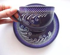 Beautiful cup and saucer designNo photo description available. Dot Art Painting, China Painting, Pottery Painting, Ceramic Painting, Stone Painting, Pottery Art, Mandala Art, Mandala Rocks, Mandala Painting