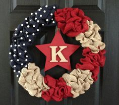 Patriotic Burlap Wreath-4th of July on Etsy, $50.00