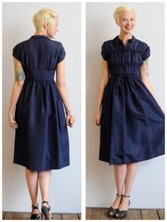1950s Dress // Teena Paige Navy Dress // by dethrosevintage