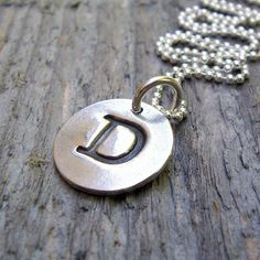 Monogram Stamp Initial Pendant Necklace Sterling by BeadinByTheSea