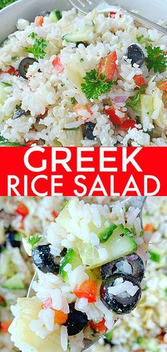 Greek Rice Salad starts with perfectly cooked rice and just might become your new favorite salad. It's also a gluten-free option to serve instead of pasta salad. Foodtastic Mom #ricerecipes #ricesalad