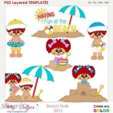 Beach Dolls Layered Element Templates cudigitals.com cu commercial scrap scrapbook digital graphics#digitalscrapbooking #photoshop #digiscrap