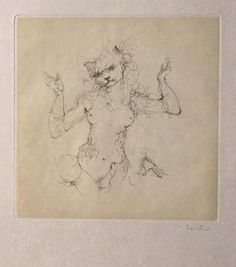 Les Etrangers 10 | by Leonor Fini Vintage Artwork, Gravure, Book Illustration, Figure Painting, Cat Art, Beauty And The Beast, Les Oeuvres, Modern Art, Museum