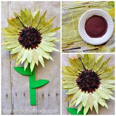 This painted newspaper sunflower craft is perfect for a summer kids craft. Watercolor painted newspaper brings great texture and vibrant colors to crafts.