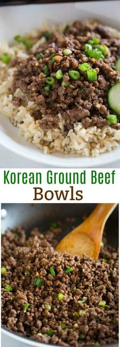 Korean ground beef bowls served over rice, and ready in less then 30 minutes. This easy dinner is one of our family's favorites! #dinner #easyrecipe #groundbeef #mealplanning via @betrfromscratch