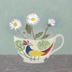 Debbie George.  Childs tea cup with daisies.  www.debbiegeorge.co.uk