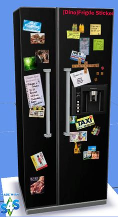 Sims 4 CC's - The Best: Fridge with Stickers by Dino